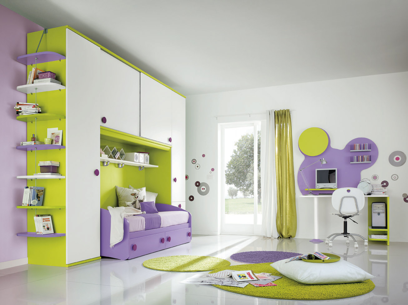 Сочетание цветов детской для девочки фото